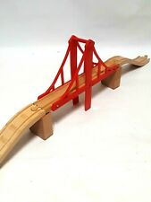 Thomas And Friends Red Bridge with Risers and Asending Track - Wooden Euc