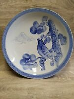 VINTAGE IMARI JAPANESE BLUE & WHITE PORCELAIN DISH PLATE, 13 INCHES