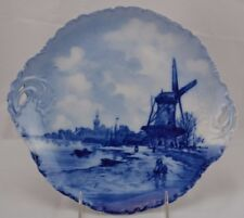 RXC Bavaria Delft Germany Versaille Plate Flow Blue Canal Scene Boat Reticulated