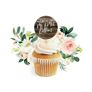 """12 Rustic Wedding Cupcake Toppers, Country Wedding Shower 2"""" Cupcake Toppers"""