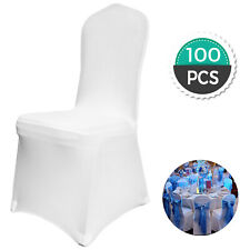 Universal 100pcs Chair Covers White Flat Front Cover Spandex Lycra Wedding Party