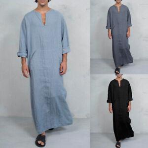 INCERUN Mens Muslim Islamic Clothing V Neck Baggy Abaya Thobe Long Kaftan Robes