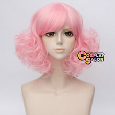35CM Lolita Bang Fluffy Curly Pink Hair Retro Cosplay Wig Heat Resistant+Cap