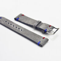 18 20 22 24mm Gray Two-piece Genuine Leather Suede Watch Strap Band Replacement