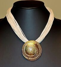 2349~Goldtone Medallion Style Pendant Cream Color Multiple Strand Cord Necklace