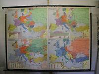 Schulwandkarte alte Europa Europe 20.JH Krieg Tote WWI WWII 1964 238x175cm Karte
