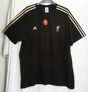 Adidas Genuine Black T shirt Liverpool Never Forgotten 25 Years 96 Gold Stripes