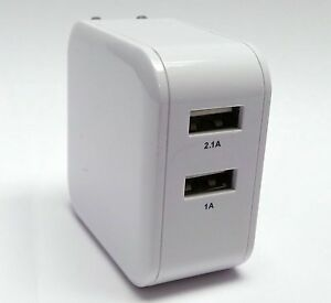 2.1Amp Strong Dual USB Wall Home Travel Charger Accessory White for Cell Phones