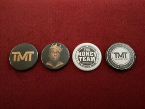 "TMT Mayweather The Money Team memorabilia - 4 x 1.75"" pin-back buttons"