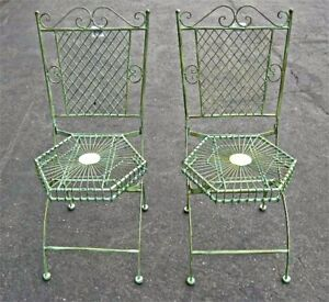 2 Folding Chair Garden Patio Set Hexagon Seat Antique Green - Iron