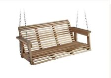 Front Porch Swing Outdoor Set Wood Wooden Seat Hanging Chain Chair Adults Patio