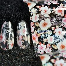 CREAM FLOWERS Holographic Nail Art Foil Transfer Glitter Stickers 3D Nails UK