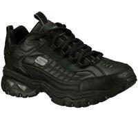 Skechers Black Wide Fit Shoes Men's Sport Train Leather Comfort Casual 50081 BLK