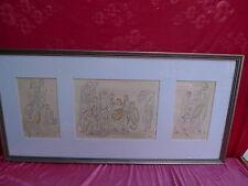 3 schöne,alte Bilder__Szenen aus der griechischen Antike_signiert : OF.48__105cm