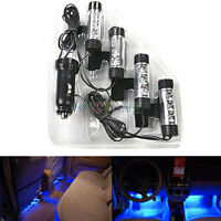 4x 3LED 4 in1 Atmosphere Light 12V Car Charge Lamp Blue Glow Interior Decor Lamp