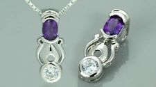 Amethyst-White-Cz Pendant Necklace Sterling Silver