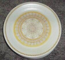 4 Vtg Franciscan Earthenware Hacienda Gold Yellow Flower Geometric Dinner Plates
