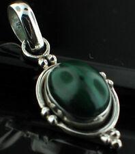 Malachite Gemstone Set Sterling Silver Pendant .925 Boho, hippy