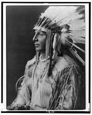 Edward S Curtis Native American 1908 Arikara Repro Print 'White Shield'