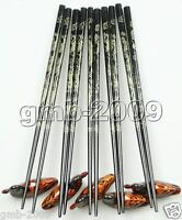 Wholesale  5 Pairs Chinese Wood Carved Dragon Chopsticks