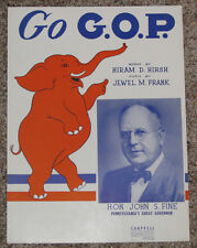 1952 GOVERNOR JOHN S. FINE OF PENNSYLVANIA - PICTURE CAMPAIGN SHEET MUSIC