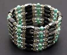 4-5mm Baroque Blue Natural FW Pearl & Hematite Magnetic 38'' Bracelet-bra355