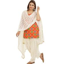 Phulkari Salwar Kameez Set Readymade Available in Bust Size 36-48 Orange & White