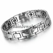 Men's Tungsten High Polish Magnetic with CZ Link Cuff Bangle Bracelet Gift- 8.7""