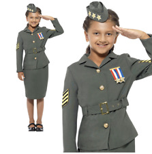 Childs Ww2 Army Girl Costume 1940s Military Soldier Uniform Fancy Dress Kids Large