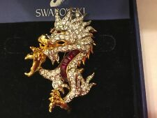 Retired Swarovski Signed Dragon Pin Brooch Rhodium set with Red & Pave Crystals