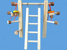 WOOD CAGE TOP PLAY GYM/PLAY PEN WITH LADDER & TOYS-MED