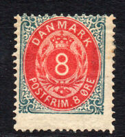 Denmark 8 Ore Stamp c1875-79 Mounted Mint Perf 14 (2248)