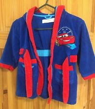 Disney Cars Boys Size 2 yrs Soft Hooded Dressing Gown Robe Blue & Red Autumn