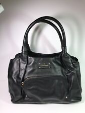 Kate Spade Baxter Street Stevie Black Leather Satchel Shoulder Bag EUC