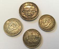Australian Silver Coins shillings 1916, 1942, 1944, Florin 1927, Good Condition