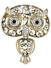 Antique ChicGolden Indian Rhinestone Embellish Owl Bug Eyes Pin Brooch