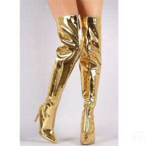 Sexy Runway Women Metallic Mirror Pointy Toe Thigh High Heel OverKnee Boots Prom