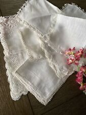 Vintage Ladies White Handkerchiefs Tatted Crocheted Lace Lot Of 8