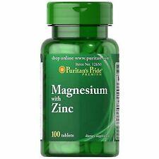 Puritan's Pride Magnesium With Zinc 100 Tablets