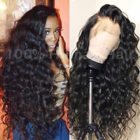 THICK Curly Wavy 100 Remy Indian Human Hair Wigs Pre Plucked Full Lace Front Wig