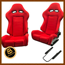 Pair BB7 Red Reclining Fibreglass Fabric Racing Bucket Seats NISSAN, TOYOTA etc