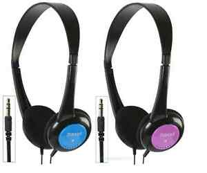 Childrens lightweight stereo headphones with volume limitter 2 colours blue pink