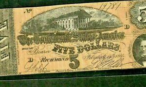 "$5 ""CONFEDERATE"" 1800'S $5 (NICE) ""CONFEDERATE"" 1800'S $5 ""CONFEDERATE"" 1800'S"