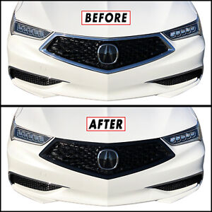 Chrome Delete Blackout Overlay for 2018-2020 Acura TLX Front Bumper Grill Trim