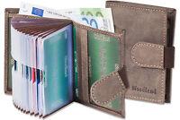 Woodland® Kompakte Geldbörse mit 18 Kartentaschen aus Büffelleder in Dunkelbraun