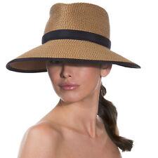Eric Javits Fashion Designer Women's Headwear Hat - Suncrest - Natural/Black