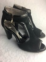 SOFFT Women's Size 8 M Heels Peep Toe Black Suede Patent Leather Ankle Strap EUC