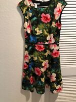 Maggy London Womens Dress Size 6 Hibiscus Floral Print Sleeveless Back Zipper