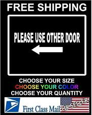 PLEASE USE OTHER DOOR Arrow Sticker Business Entrance Exit Vinyl Decal Office