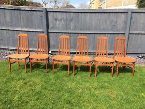 Vintage/Retro Teak Dining Chairs Set Of 6 - Mid Century